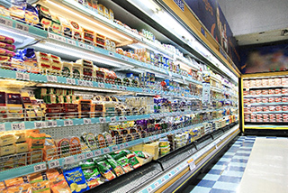 Food on the shelves in supermarkets.