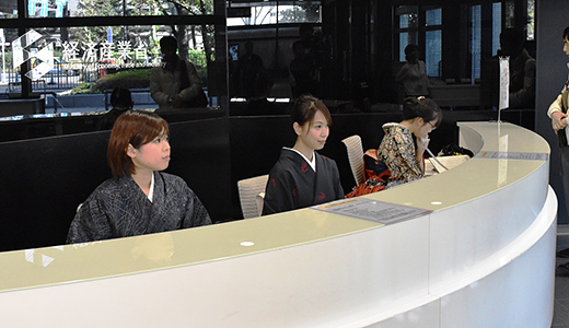 Reception staff wearing kimono.